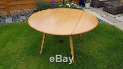 Table De Salle À Manger Ercol Blonde Elm Drop Leaf Modèle 384 & 4 Quaker Chai