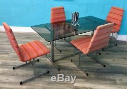Table De Salle À Manger Et Chaises En Chrome Et Verre Rétro Vintage Midie Century Pieff