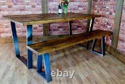 Table De Salle À Manger Et Set De Banquettes En Direct Industriel Reclaimed Vintage Table De Cuisine