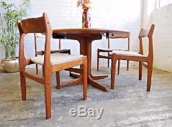Table De Salle À Manger Extensible Vintage Mid-century Vintage Retro Mid-century En Teck Avec 6 Chaises