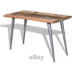 Table De Salle À Manger Industrielle Vintage En Métal Rustique Solide Bois Cuisine