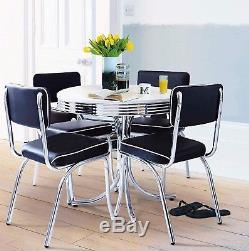 Table De Salle À Manger Ronde Avec 4 Chaises, Meubles De Cuisine De Style Rétro Vintage