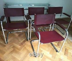 Table En Verre De Style Bauhaus Vintage / Rétro 6 Chaises En Porte-à-faux En Cuir Des Années 1970