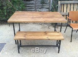 Table Et Banc Rustique Chic De Style Industriel Vintage, Cadre En Métal Chunky Wood