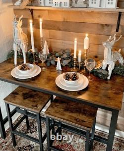 Table Industrielle De Bar Et Tabourets Grand Ensemble Rustique De Salle À Manger De Petit Déjeuner De Cuisine