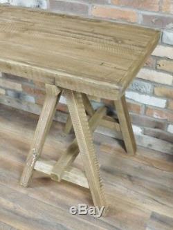 Table Industrielle En Bois Rustique En Bois Pattes Croisées En Acacia Naturel Haut Salle À Manger Neuf