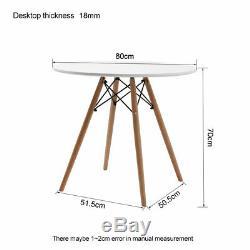 Table Ronde 80cm Salle Blanche Et 4 Chaises Rembourré Tuilp Gris Set De Cuisine Café Royaume-uni