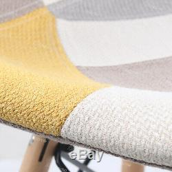 Table Ronde De Salle À Manger De 80cm Et 4 Chaises Fixées Au Bureau En Tissu Patchwork Rembourré Blanc Royaume-uni