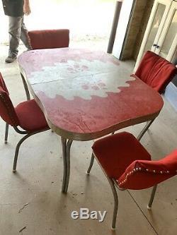 Table Vintage Cuisine Et 4 Chaises