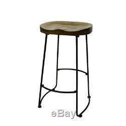 Tabourets De Bar Comptoir Chaise Haute Industriel Rustique Métal Vintage Backless Pub Seat