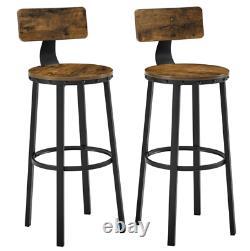 Tabourets De Bar Industriels Vintage Tall Chair Rustic Metal Breakfast Dining Seat Set2