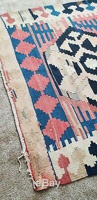 Tapis Fait Main En Laine Persan Kilim Grand Tapis Multicolore À Patins 270x115cm Vintage