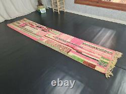 Tapis Marocain Boujaad Handmade Runner 2'5x11'2 Abstract Pink Wool Berber Carpet