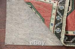 Tapis Vintage 2x4 Géométrique Turc Oriental Avec Oushak, Tapis En Laine Noué À La Main