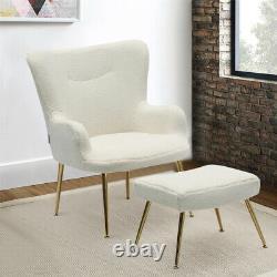 Teddy Fleece Rembourré Fauteuil Aile Back Chair Salon Tub Sofa Avec Footstool