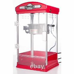 Throwback 60030 Vintage Movie Theater Kettle Style Popcorn Maker Machine, Rouge