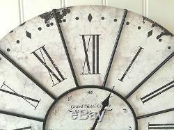 Très Grande Horloge Murale Shabby Chic Française 60cm Ancien Style Vintage Neuf & Boîte