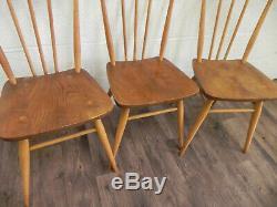 Trois Vintage Ercol Tous Les Repas Fin 1960 Chaises Lumière