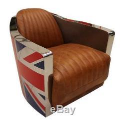 Union Jack - Fauteuil Vintage En Cuir Brun Clair Aviator Retro