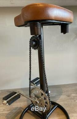 Vélo Pédale Cuir Saddle Tabouret Petit Déjeuner Bar Cuisine Cave Man Retro Vintage