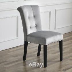 Velours Gris Camden Dining Chair Withchrome Heurtoir Chambre Table Rétro Vinaigrette Au Royaume-uni