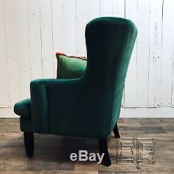 Velvet Wingback Chair Lounge Furniture Fauteuil D'appoint Velours Vert Émeraude