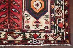 Vente Vintage Géométrique Tribal Bakhtiari Tapis Main Noueuse Oriental Red 5x10