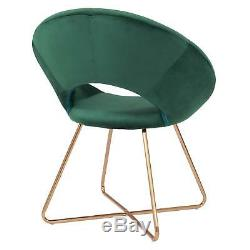 Vert Émeraude Rétro Moderne Accent Rembourré Velours Donut Chaise Avec Pieds En Métal D'or