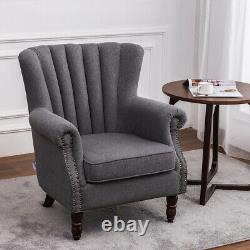 Victorian Retro Wing Fauteuil Arrière Accent Oyster Fireside Sofa Lounge Tub Chair