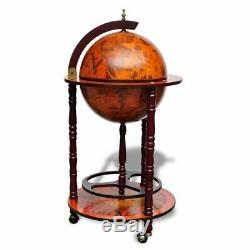 Vidaxl Bar Globe En Bois Vin Antique Stand Style Rétro Boisson Bouteille Organisateur
