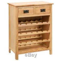 Vidaxl En Chêne Massif Bois Vin Cabinet Boisson Bouteille De Stockage Organisateur Porte-rack
