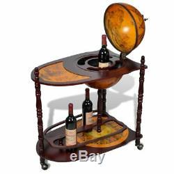 Vidaxl Globe Wine Bar Support Bois Autoportants Boisson Bouteille Armoire De Rangement
