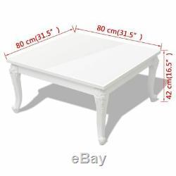 Vidaxl Table D'appoint À Café Avec Table D'appoint, Salon Moderne Blanc Lustré 3 Tailles