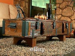 Vieux Coffre De Voyage Table Basse Cottage Steamer Pine Chest Vintage Retro En Bois