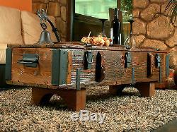 Vieux Tronc Voyage Coffee Table Cottage Steamer Coffre Pin Rétro Bois