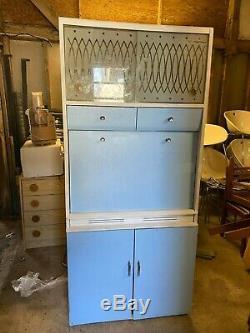 Vintage 1950 60 Remploy Bleu Blanc Cuisine Larder Tiroirs Armoire Cabinet