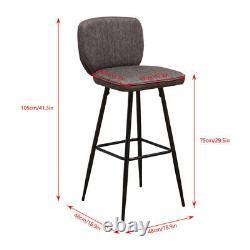 Vintage 2x Tabourets Bar Chaises De Petit Déjeuner Chaise À Manger High Legs Kitchen Dark Grey