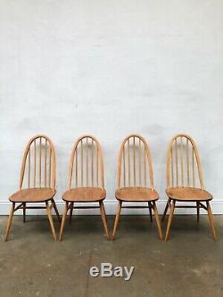Vintage 60 Ercol 4 X Blonde Windor Salle À Manger Chaises. Rétro Danois. Livraison