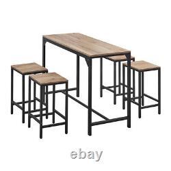Vintage Bar Table Et 4 Tabourets Set Industrial Breakfast Bar Table Dining Set Royaume-uni