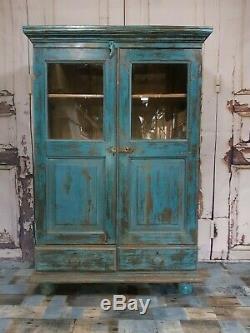 Vintage Bleu Teck Indien Présentoir En Bois Cocktail Drinks D'armoires De Cuisine Armoire