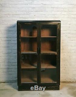 Vintage Brown Pin Et Affichage En Verre Cabinet / Book Shelf / Cuisine Unité