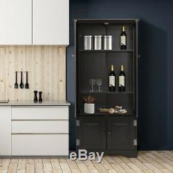 Vintage Cuisine Garde-manger Larder Noir Cabinet Meuble De Rangement Unité Des Étagères En Bois