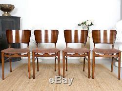 Vintage Dining Noyer Table Et Chaises Art Déco 4 Chaise À Dîner À Rabat