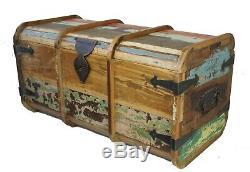 Vintage En Bois De Teck Distressed Painted Tronc Poitrine Table Basse Ottoman Shabby Chi