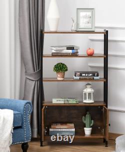Vintage Industrial Bookcase Rustic Shelf Door Tall Side Cabinet Display Storage