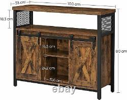 Vintage Industrial Sideboard Rustic Cupboard Armoire Tv Stand Storage Unit Slim