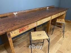 Vintage Kitchen Breakfast Bar/ Kitchen Table Island / Banc De Laboratoire De L'école / Bureau D