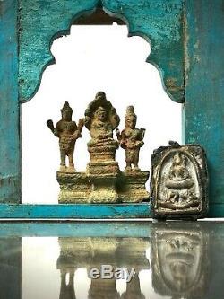 Vintage Meubles Indiens. Grand Écran / Étagère Arc Mughal. Turquoise