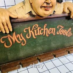Vintage My Kitchen Tools Chef Cuisine Rétro Panneau D'art Mural En Résine Moulée 3d