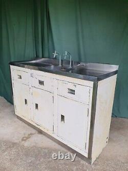 Vintage Paul Millersdale Évier De Cuisine En Acier Inoxydable Unité Cabinet Industriel 50